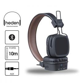 Heden Evolution Casque Bluetooth/Filaire avec Chargeur prise mural Noir