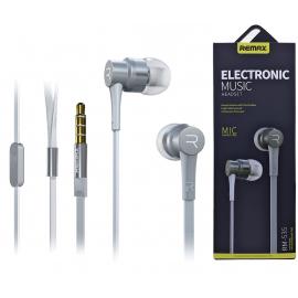 Remax- RM-535 - Écouteurs Intra-Auriculaires stéréo avec Microphone intégré Blanc