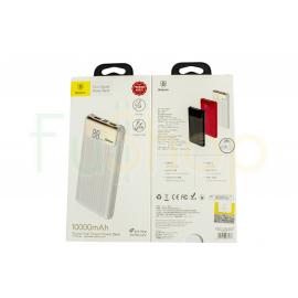 Baseus 10000mAh batterie Double USB externe affichage numérique Power Bank QC 3.0 Micro USB Type-C BLANC